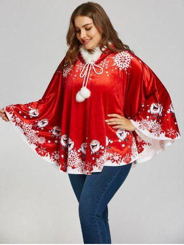 Trendy Santa Claus Print Plus Size Velvet Cape Coat