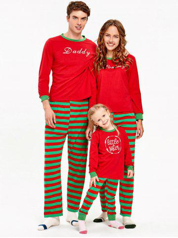 Striped Matching Family Christmas Pajama Suit - RED - DAD L