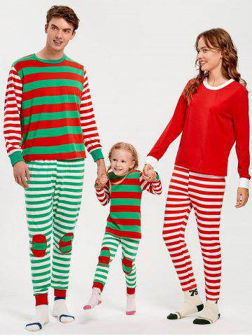 Patched Stripe Family Christmas Pajama Set - RED - KID 120