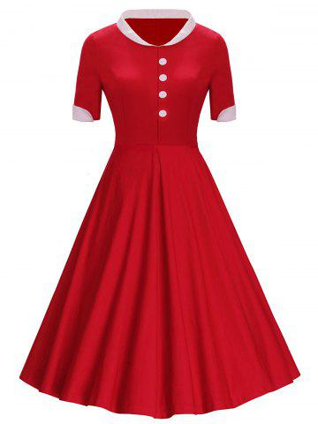 Boutons Col montant Midi Vintage Dress