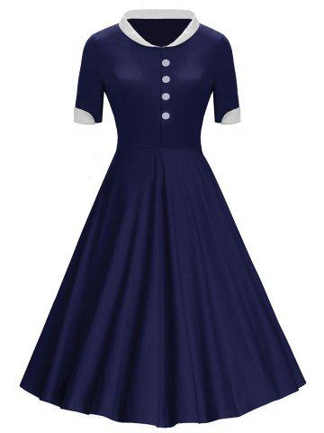 New Buttons Stand Collar Midi Vintage Dress