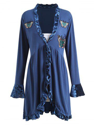 Chic Velvet Panel Ruffle Butterfly Embroidered Plus Size Coat