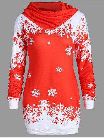 Fashion Christmas Snowflake Longline Cowl Neck Sweatshirt