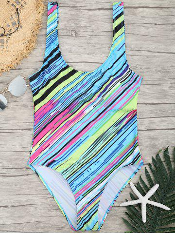Colored Striped Padded U Neck One-piece Swimsuit