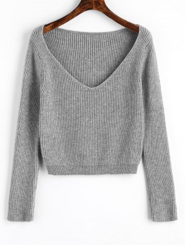 Store V Neck Cropped Pullover Sweater