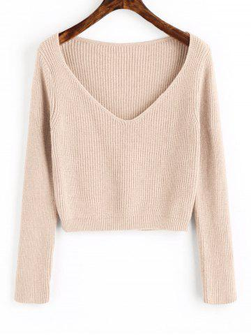 Online V Neck Cropped Pullover Sweater