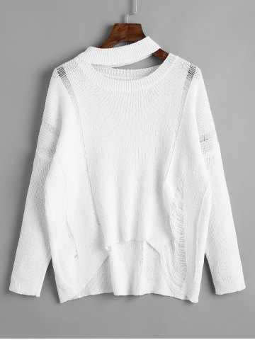 Best Destroyed Cutout High Low Pullover Sweater