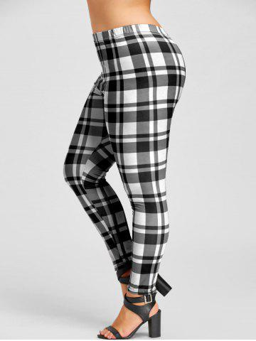 Sale Plus Size Plaid Tight Leggings