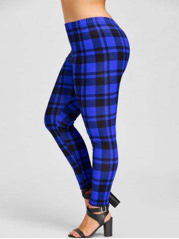 Affordable Plus Size Plaid Tight Leggings