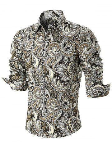 Discount Turn Down Collar Button Cuffs Paisley Print Shirt