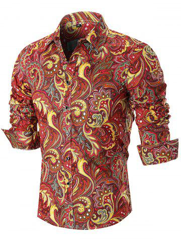 Fashion Turn Down Collar Button Cuffs Paisley Print Shirt