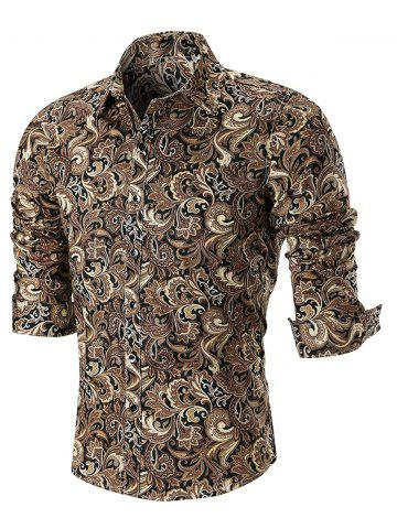 Online Turn Down Collar Button Cuffs Paisley Print Shirt