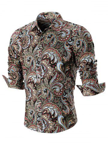 New Turn Down Collar Button Cuffs Paisley Print Shirt