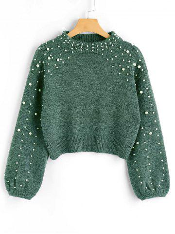 Sale Mock Neck Faux Pearl Sweater