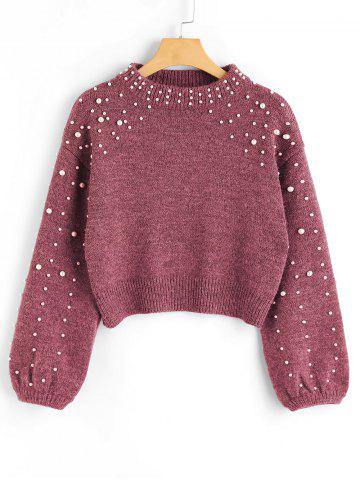 Unique Mock Neck Faux Pearl Sweater