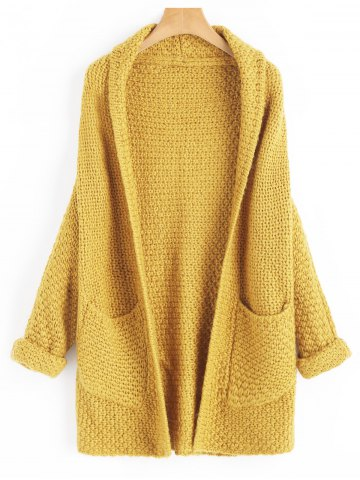 Open Front Curled Sleeve Batwing Cardigan
