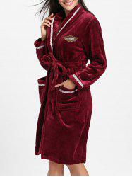 Fleece Knee Length Wrap Sleepwear Dress -