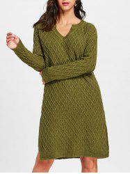 Argyle V Neck High Slit Sweater Dress -