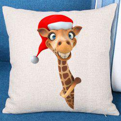 Christmas Giraffe Patterned Throw Pillow Case -