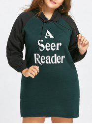 Letter Print Flocking Plus Size Hoodie Dress -
