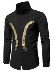 Bronzing Print Ribbed Turtle Neck Pullover Shirt -