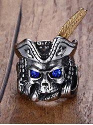 Vintage Rhinestone Stainless Steel Pirate Skull -