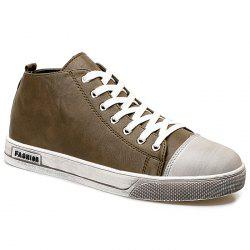 Faux Leather High Top Sneakers -