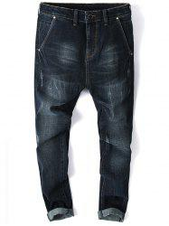 Whisker Design Zip Fly Tapered Jeans -