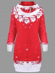 Christmas Santa Claus Print Hooded Dress -
