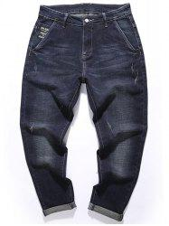 Tapered Fit Zip Fly Graphic Jeans -
