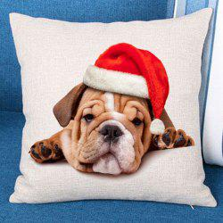 Christmas Dog Patterned Throw Pillow Case -