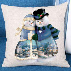 Two Hugged Snowmen Patterned Throw Pillow Case - White And Blue - W18 Inch * L18 Inch