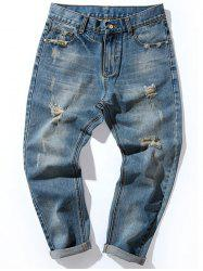 Zip Fly Tapered Fit Retro Distressed Jeans -