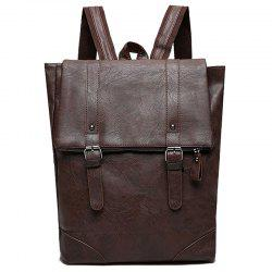 Buckle Straps Faux Leather Backpack With Handle -