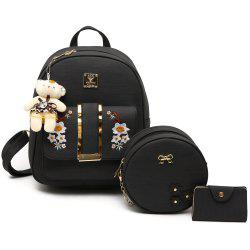 Flower Embroidery 3 Pieces Backpack Set -