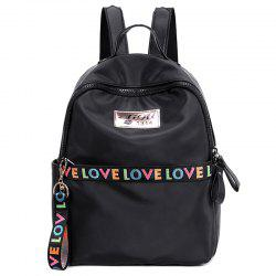 Zip Print Letter Backpack With Handle -
