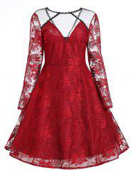 Vintage Floral Lace Panel Overlay Dress -