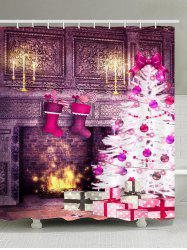 Waterproof Christmas Fireplace and Tree Printed Shower Curtain -