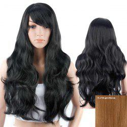 Inclined Bang Long Layered Wavy Human Hair Wig -