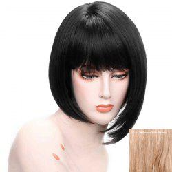 Short Neat Bang Straight Asymmetric Bob Human Hair Wig -