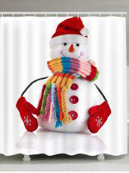 Waterproof Red Hat Snowman Printed Shower Curtain -