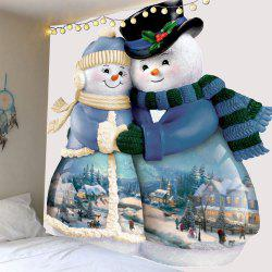 Hugged Snowmen Couple Printed Wall Tapestry -