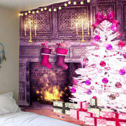 Christmas Fireplace And Tree Patterned Wall Art Tapestry -