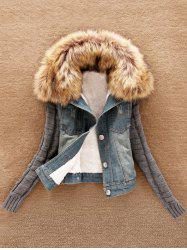 Knit Sleeve Faux Fur Collar Denim Jacket -