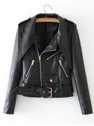 Zipper Embellished Biker Jacket with Belt -