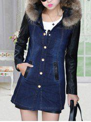 Faux Leather Sleeve Button Up Denim Coat -