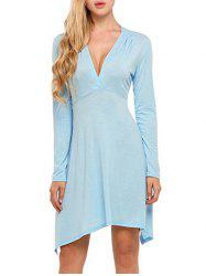 Plunge Neck Long Sleeve Casual Dress -