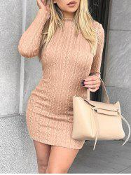 Crew Neck Short Bodycon Knit Dress -