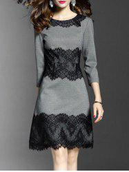 Round Neck Lace Panel A Line Dress -