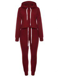 Long Sleeve Drawstring Pullover Hoodie Sweat Suit -